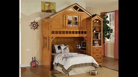 tree house style rustic oak finish wood kids loft bed bunk