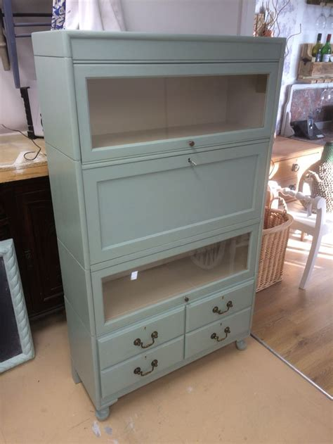 autentico chalk paint newcastle antique globe wernicke style library unit refinished in