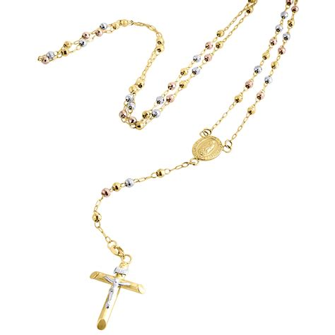 gold rosary necklace 10k gold tri color rosary cut bead 3mm