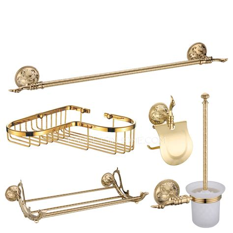 gold bathroom accessories sets shiny gold brass vintage 5 bathroom accessory sets