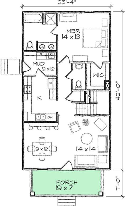 cottage house plans for narrow lots narrow lot bungalow home plan 10030tt 1st floor master