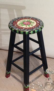 Custom Wood Bar Stools by Handmade 24 Quot Painted Custom Top Wooden Bar