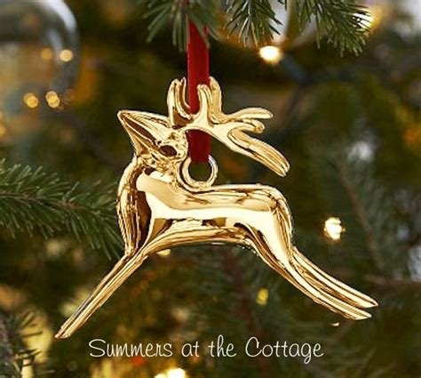 pottery barn ornaments pottery barn reindeer gold tree ornament gold deer