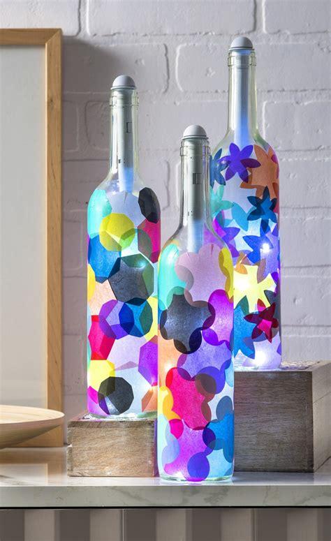 glass bottle craft projects wine bottle crafts light my bottles mod podge rocks