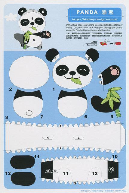paper craft panda panda cut out postcard flickr intercambio de fotos