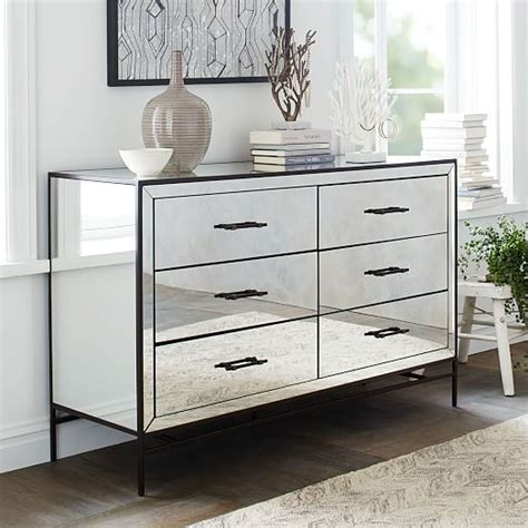 mirrored bedroom dresser mirrored 6 drawer dresser west elm