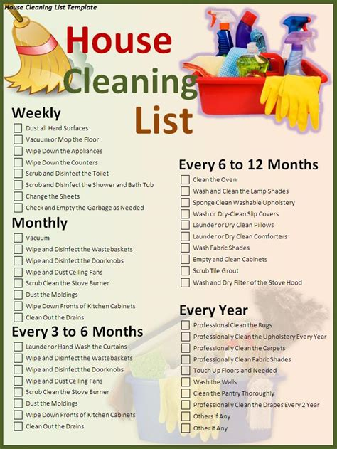 cleaning list house cleaning list template free formats excel word