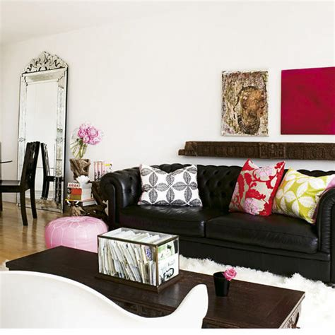 living room with black leather sofa black chesterfield sofa contemporary living room