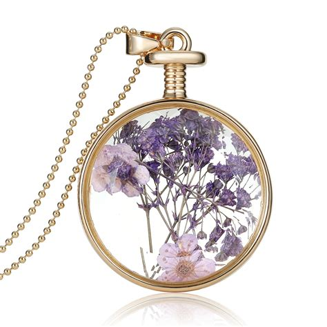 glass pendants for jewelry 1pcs real dried flower clear glass pendant
