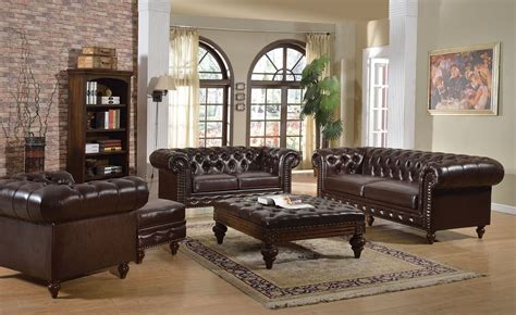 tufted leather sofa set 5pc brown boned leather button tufted living