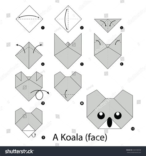 how to make a origami step by step step by step how make stock vector 334106558
