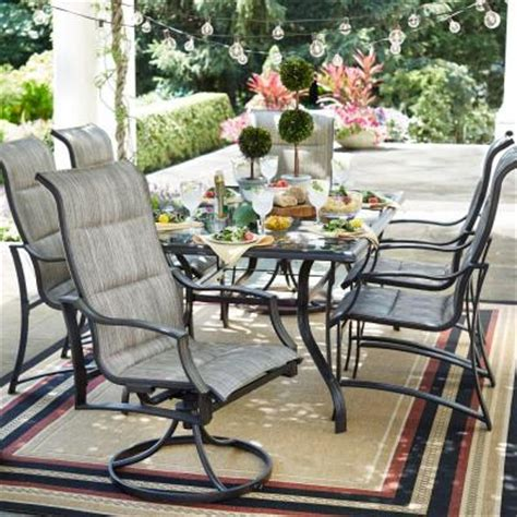 patio 7 dining set hton bay statesville 7 padded sling patio dining