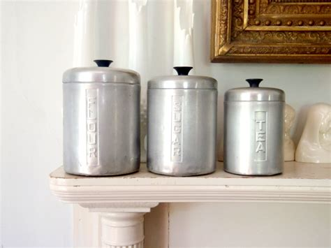 italian metal kitchen canister set vintage storage by