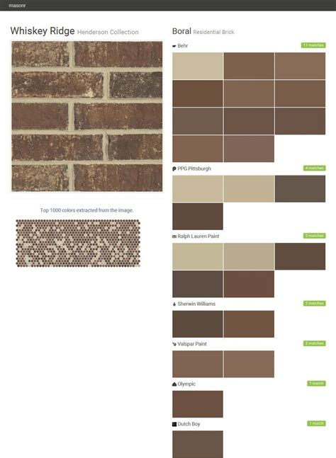 matching behr paint colors to valspar whiskey ridge henderson collection residential brick