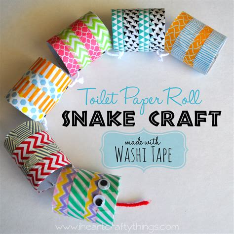 crafts made with toilet paper roll snake craft made with washi i
