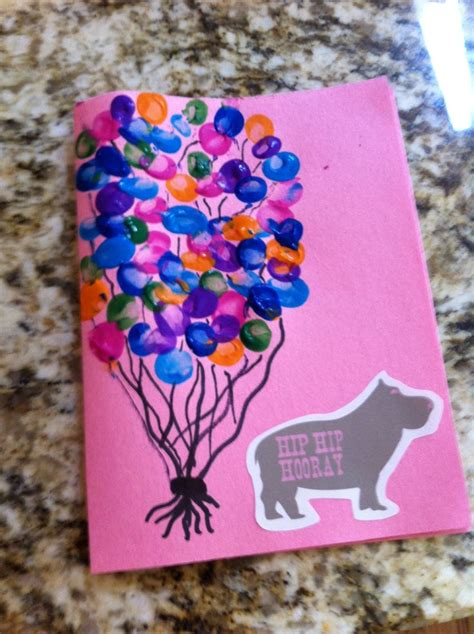 birthday craft for birthday card from infant toddler thumbprint balloons