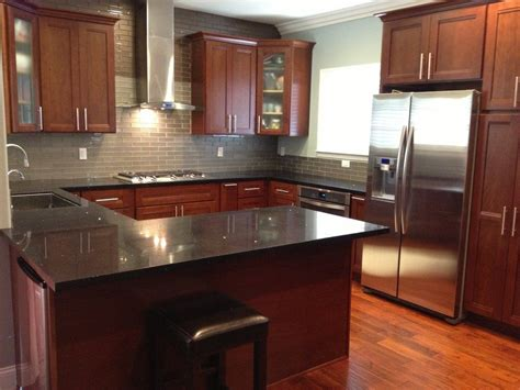 Cherry Cabinets by Kitchen Cabinets American Cherry Glass Subway Tile