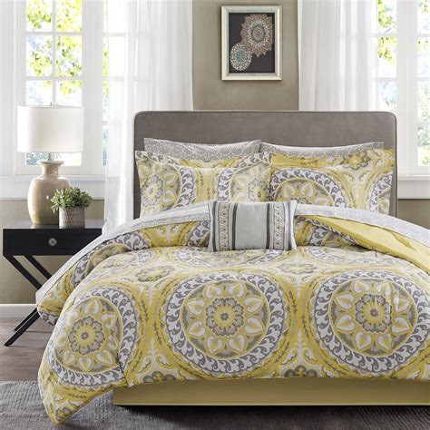 beautiful bed comforter set beautiful modern tropical bed in a bag yellow grey