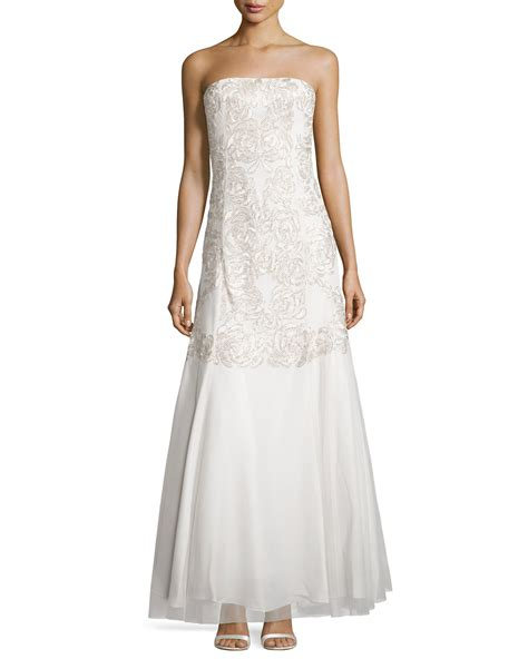 beaded white gown aidan mattox beaded strapless mermaid gown in white lyst