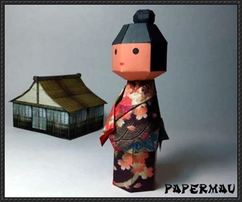 japanese paper crafts free kokeshi traditional japanese doll papercraft free template
