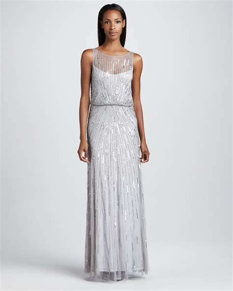 aidan mattox beaded gown aidan mattox beaded illusionneck gown in silver lyst