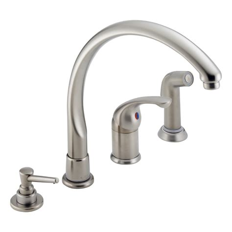 delta high arc kitchen faucet shop delta waterfall stainless 1 handle high arc deck mount kitchen faucet at lowes