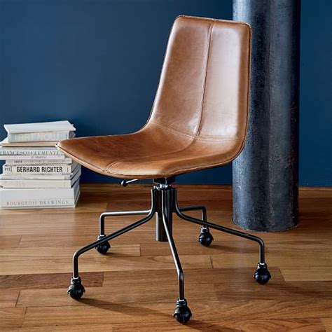 leather swivel office chair slope leather swivel office chair west elm
