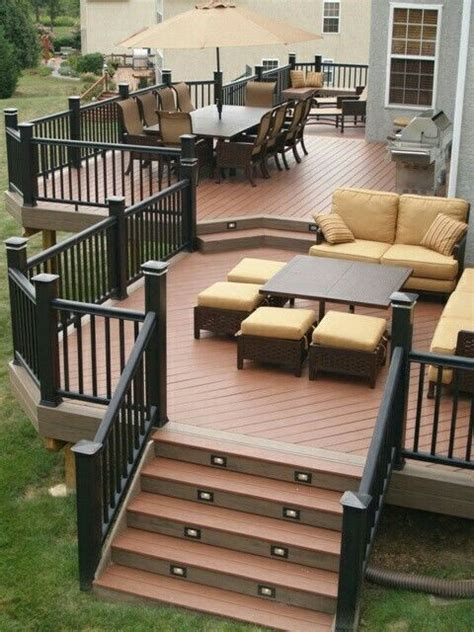 deck to patio designs 25 best ideas about two level deck on tiered