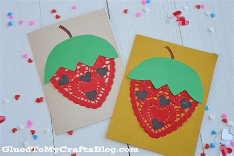 strawberry crafts for doily strawberry cards kid craft glued to my crafts