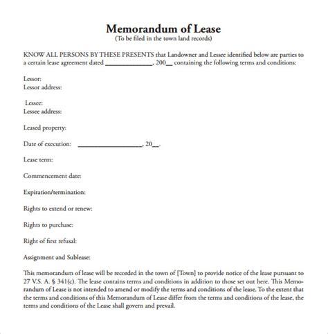 sample memorandum of lease agreement 9 free documents