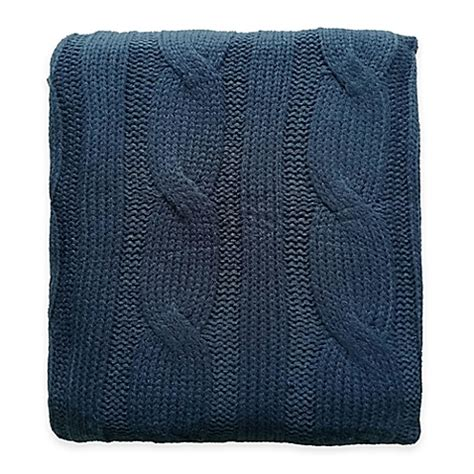 navy knitted throw buy cable knit throw in navy from bed bath beyond