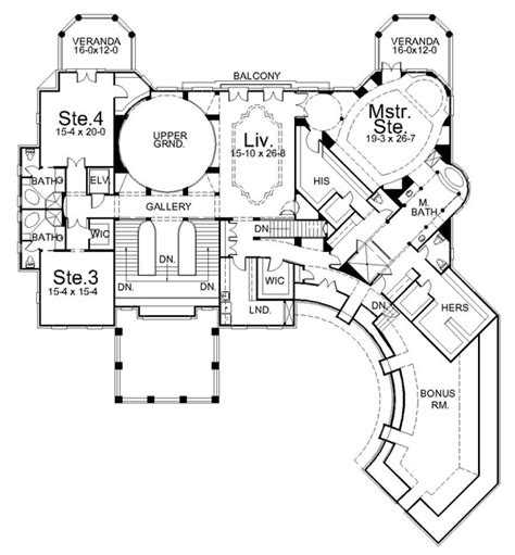 mansion home plans villa cornaro 6044 4 bedrooms and 4 baths the house