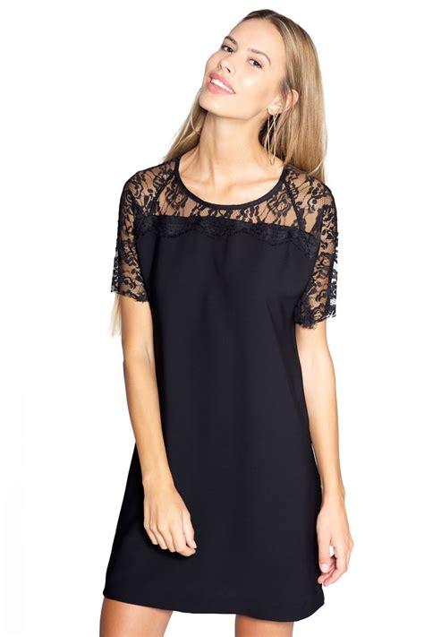 vestidos de fiesta negro corto vestido negro corto oversize con encaje