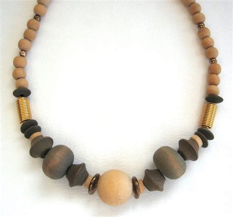 wooden necklace wooden beaded necklace vintage chunky