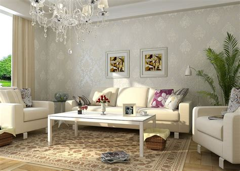 beautiful room wallpaper fireplace and sofa in european style living room
