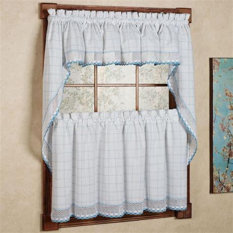 kitchen swag curtains valance adirondack cotton kitchen window curtains white blue
