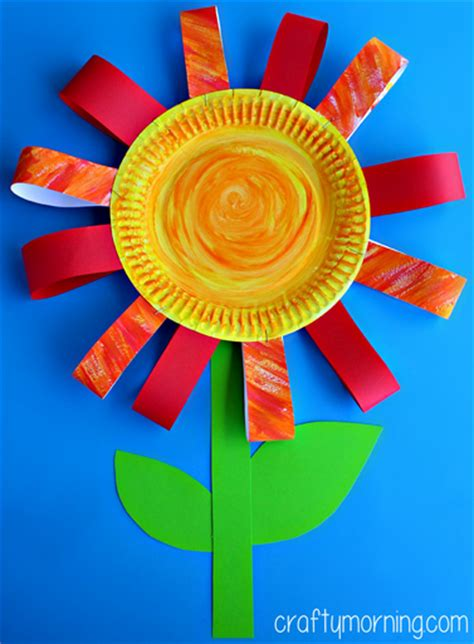 paper flower craft for children paper plate flower craft for crafty morning