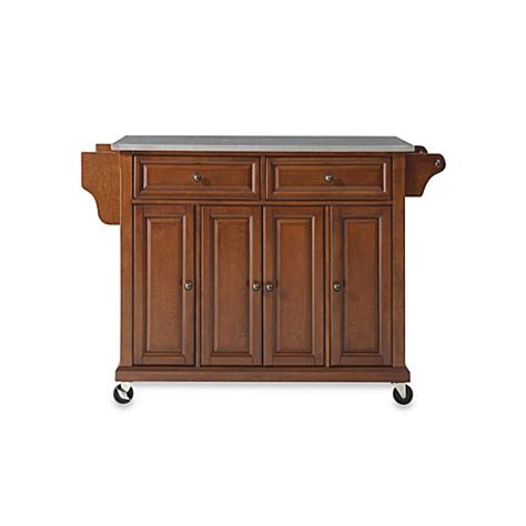 cherry kitchen island cart buy crosley rolling kitchen cart island with stainless steel top in cherry from bed bath beyond