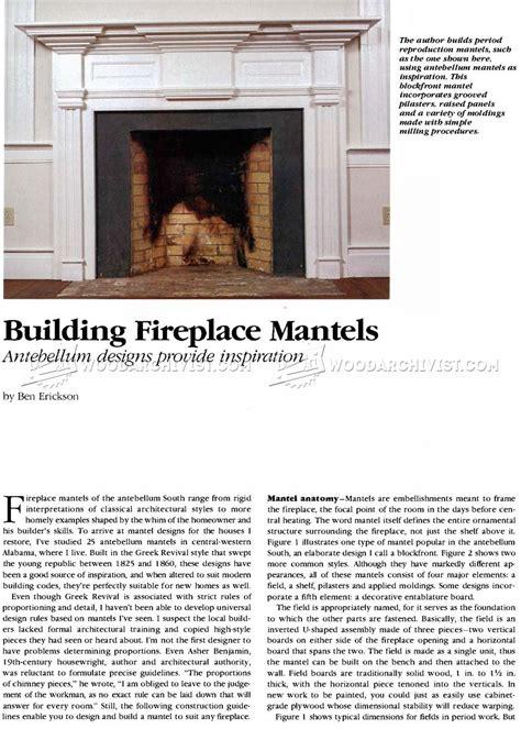 fireplace mantel woodworking plans fireplace mantels plans woodarchivist