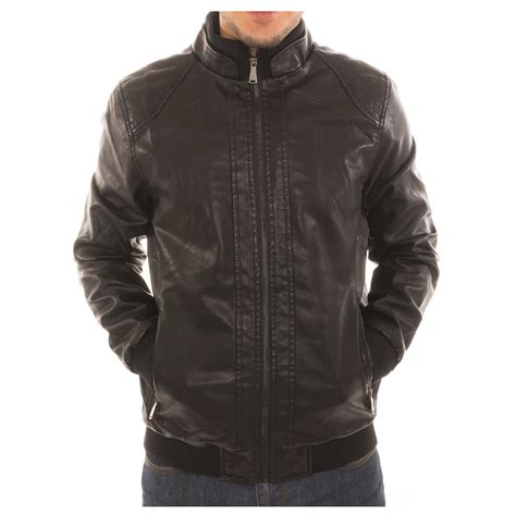 lined leather jacket alta s motorcycle bomber faux leather jacket fleece lined with zip pockets ebay