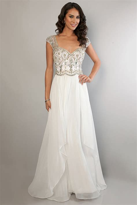 2014 The Shoulder Chiffon Prom Dress A Line Beaded