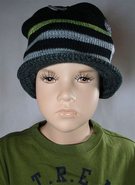 black knit hat with brim boy s toddler to youth black skull brim knit hat size 4