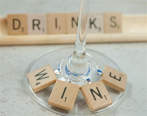 scrabble charms scrabble tile wine charms set of 4 drink charms by kcowie