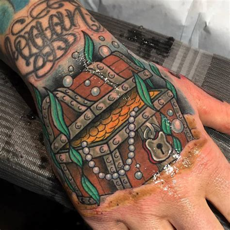 treasure chest hand tattoo best tattoo design ideas