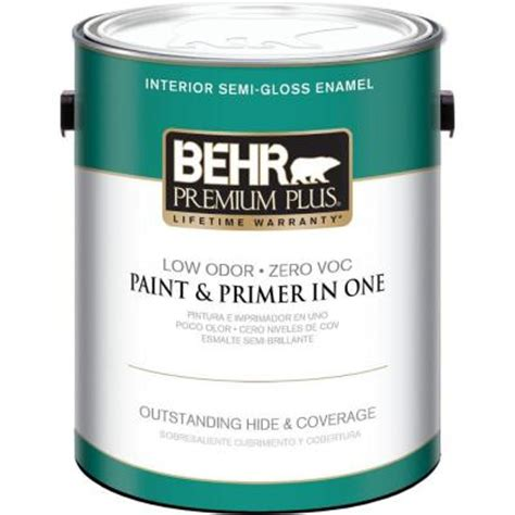 home depot paint no primer behr premium plus 1 gal ultra white semi gloss zero