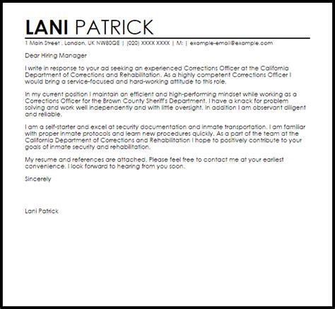 Free Sample Resume Cover Letters correctional officer cover letter sample livecareer