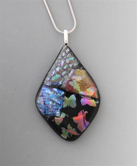 dichroic jewelry dichroic glass pendant glass butterfly necklace dichroic