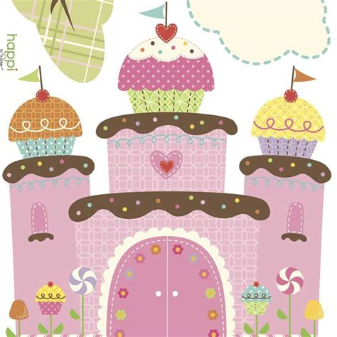cupcake wall stickers cupcake castle wall sticker stickythings wall stickers