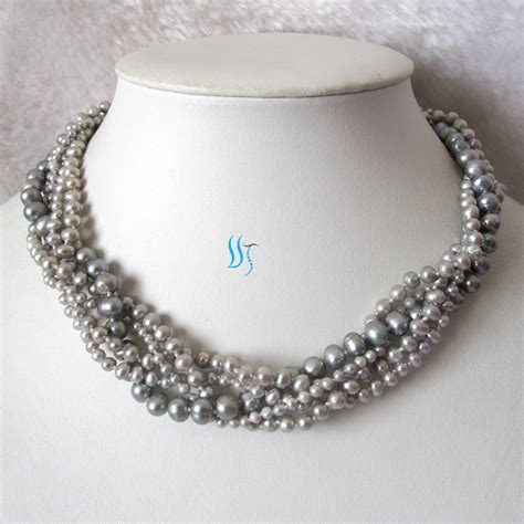 pearl for jewelry gray pearl necklace wedding pearl necklace 18 by pearlsstory