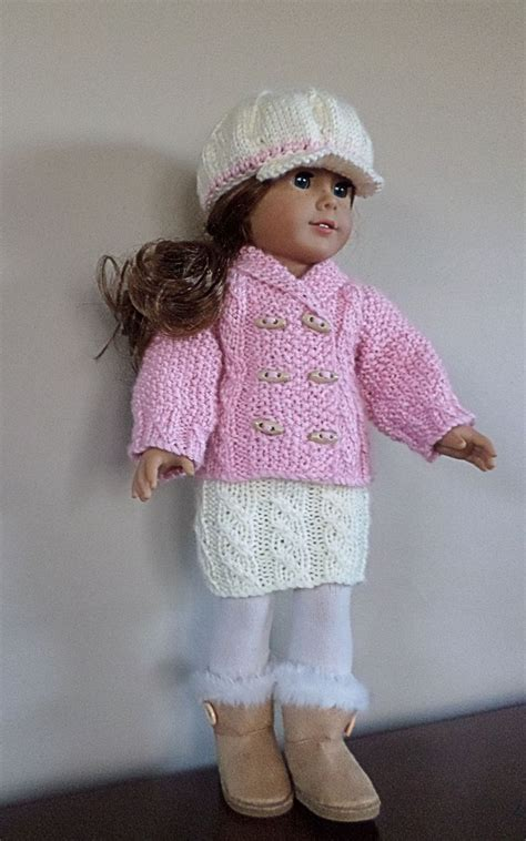 dolls cardigan knitting pattern american doll clothes hat cardigan and skirt
